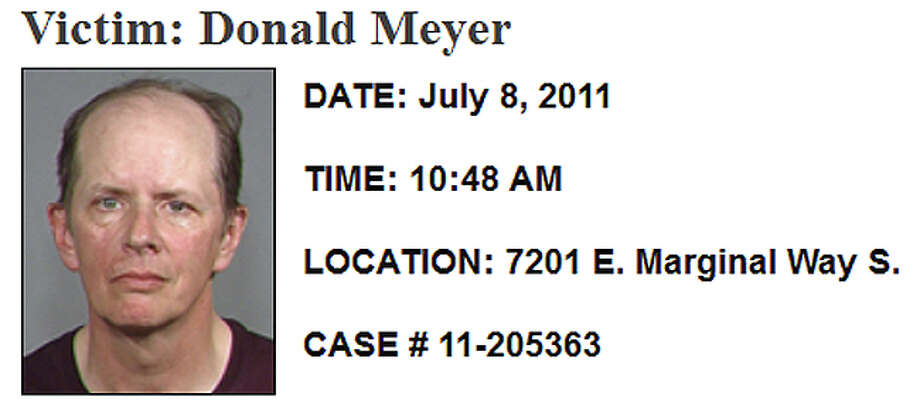 July 8, 2011, Donald Meyer: Neither police nor the medical examiner could determine exactly when Meyer died, but his dismembered body was found July 8 at the CDL Recycling plant in the 7200 block of East Marginal Way South. His cell phone hadn't been used since June 17, the last day anyone saw him. Investigators determined his body had been dumped less than a block from his apartment and a neighbor said a man who had recently lived with Meyer was upset that with his marijuana use. Investigators said that when they searched there was still a fresh paint smell and pieces of masking tape along the baseboard trim. CSI detectives used a chemical process to find blood stains not visible to the naked eye on the bathroom floor and counter, and a bloody footprint trail to the kitchen sink. That roommate hasn't been arrested or named as a suspect. Read more here. Photo: SPD
