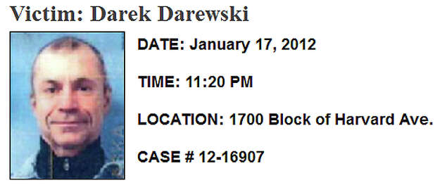 Jan. 17, 2012, Darek Darewski: The Poland native was shot to death several blocks from his apartment in the 1700 block of Harvard Avenue in Capitol Hill. At least one person approached and shot him in the chest, according to police. Darewski died at the scene. Police released clips from a surveillance video and were looking for a white sedan. But no arrests have been made. Read more here. Photo: SPD