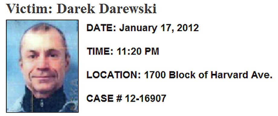 Jan. 17, 2012, Darek Darewski: The Poland native was shot to death several blocks from his Capitol Hill apartment in the 1700 block of Harvard Avenue. At least one person approached and shot him in the chest. Darewski died at the scene. Police released clips from a surveillance video and were looking for a white sedan. But no arrests have been made. Read more here. Photo: SPD