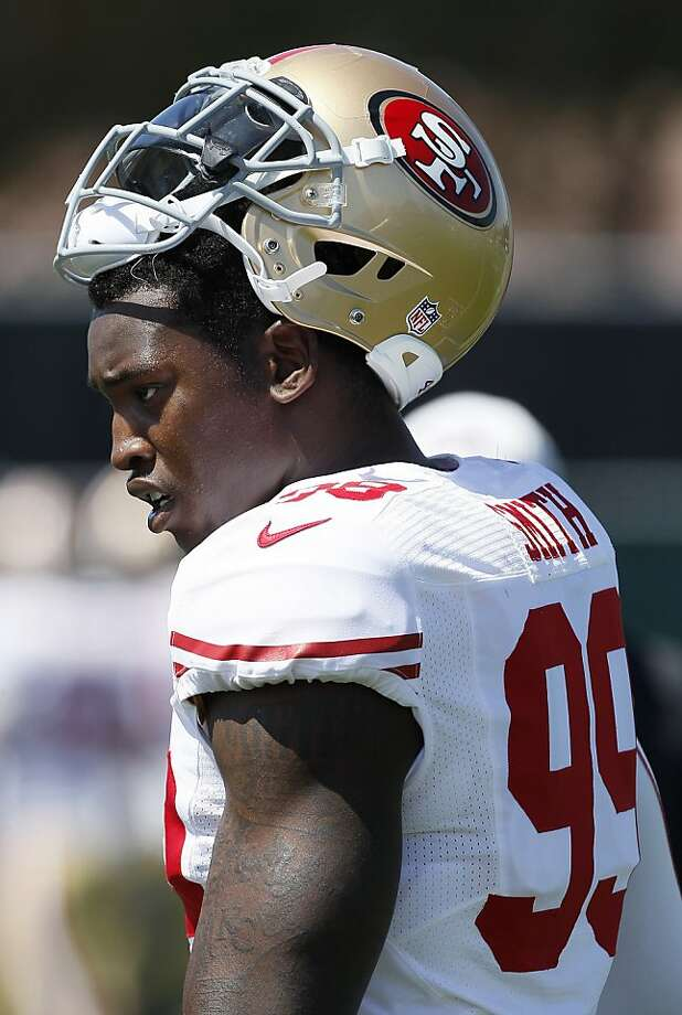 Last season, linebacker Aldon Smith was half a sack shy of tying the rookie sack record (141/2, Jevon Kearse). Photo: Jeff Chiu, Associated Press