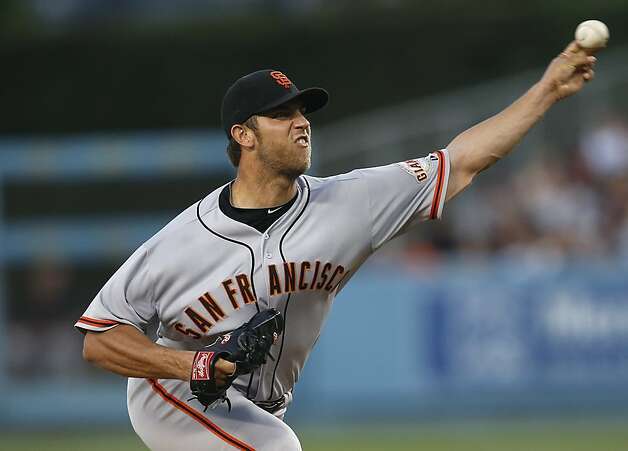 San Francisco Giants starting pitcher Madison Bumgarner throws against the Los Angeles Dodgers in the first inning of a baseball game in Los Angeles, Monday, Aug. 20, 2012. (AP Photo/Jae C. Hong) Photo: Jae Hong, Associated Press
