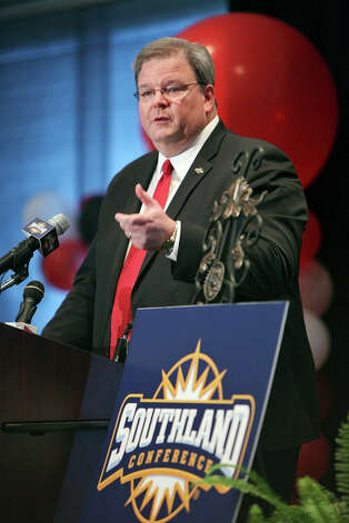 Southland Conference Commissioner Tom Burnett speaks, Monday Aug. 20, 2012, during a press conference where it was announced that UIW will join the Southland Conference effective July 1, 2013. Photo: Edward A. Ornelas, San Antonio Express-News / © 2012 San Antonio Express-News