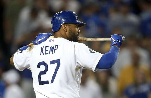 Los Angeles Dodgers' Matt Kemp walks toward the dugout after he struck out in the sixth inning of a baseball game against the San Francisco Giants in Los Angeles, Monday, Aug. 20, 2012. (AP Photo/Jae C. Hong) Photo: Jae Hong, Associated Press