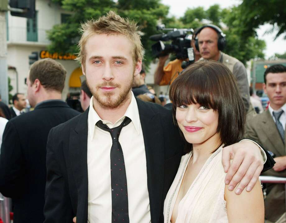 "Then Ryan Gosling dated ""Notebook"" co-star Rachel McAdams, both pictured at the movie's 2004 premiere.  (Getty Images)"