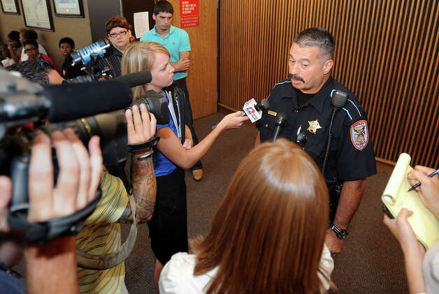 Orange County Deputy Fred Ashworth addresses the media Monday morning after Dillon Dwight Schlegel, 17, was sentenced to 30 years imprisonment for attempted capital murder. The sentencing stems from a January incident where Schlegel shot Ashworth in the chest at the Jefferson County Jail.  Photo taken Monday, August 20, 2012. Guiseppe Barranco/The Enterprise Photo: Guiseppe Barranco, STAFF PHOTOGRAPHER / The Beaumont Enterprise