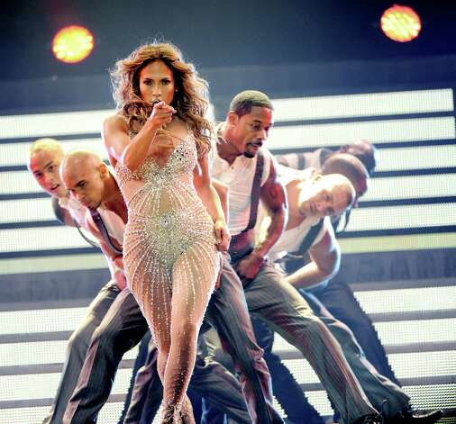 The AT&T Center crowd was treated to a vision of Jennifer Lopez akin to this in Los Angeles a week ago. Photo: Kevin Winter, Getty Images / 2012 Getty Images