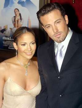 "No retrospective of former tabloid couples would be complete without ""Bennifer,"" the Ben Affleck-Jennifer Lopez romance of a decade ago. Photo is from the 2002 ""Maid in Manhattan"" premiere.  (AFP/Getty Images)"