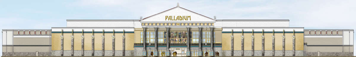 This architect's rendering shows the front of The Palladium being built in Fort Bend County. The theater takes some of its design from the Palladium IMAX in San Antonio, although it will be much larger, said Chris Prichard, assistant director of operations, Santikos Theatres.
