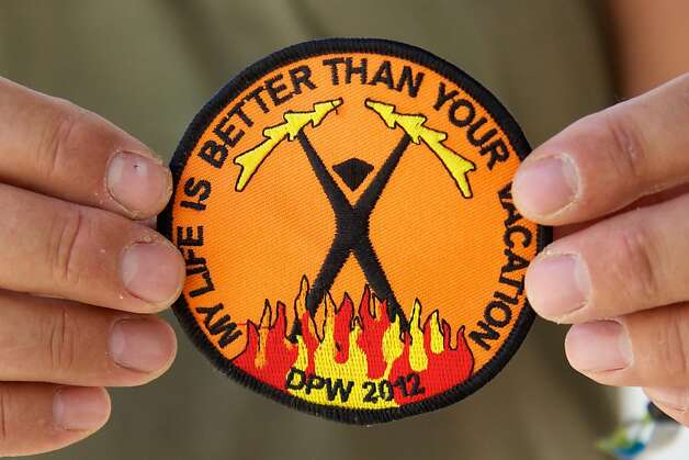 Images of patches collected over the years by Burning Man attendees. Photo: Sidney Erthal
