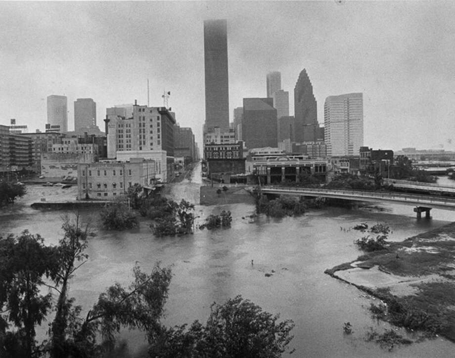 Allen's Landing, Buffalo Bayou and the north end of downtown Houston in 1983, after Hurricane Alicia. Photo: .