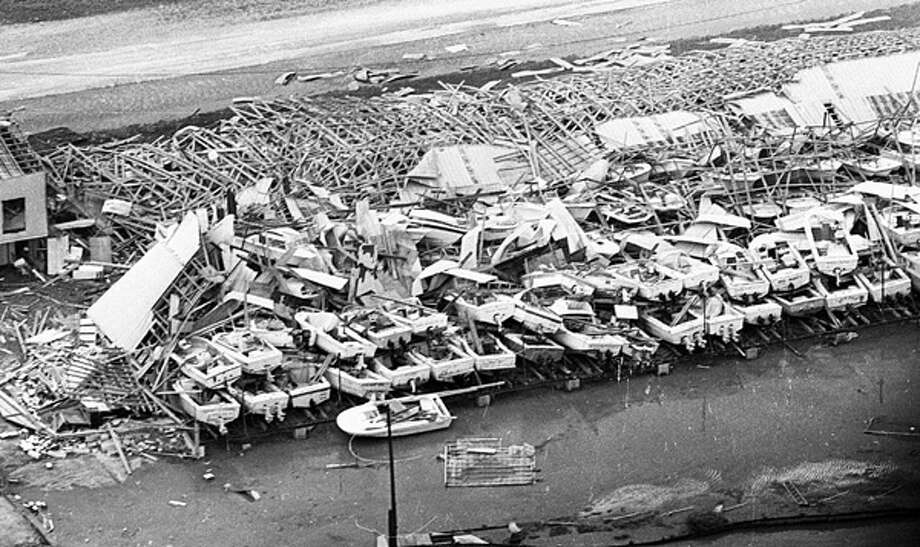 Hurricane Frederic hit Mobile, Ala., and Dauphin Island in September 1979. Frederic battered the bayside city of 200,000 in the dark hours of Sept. 12, 1979, leaving a legacy of unprecedented property damage in its day. Today, Frederic would cost at least $10 billion.  Photo: .