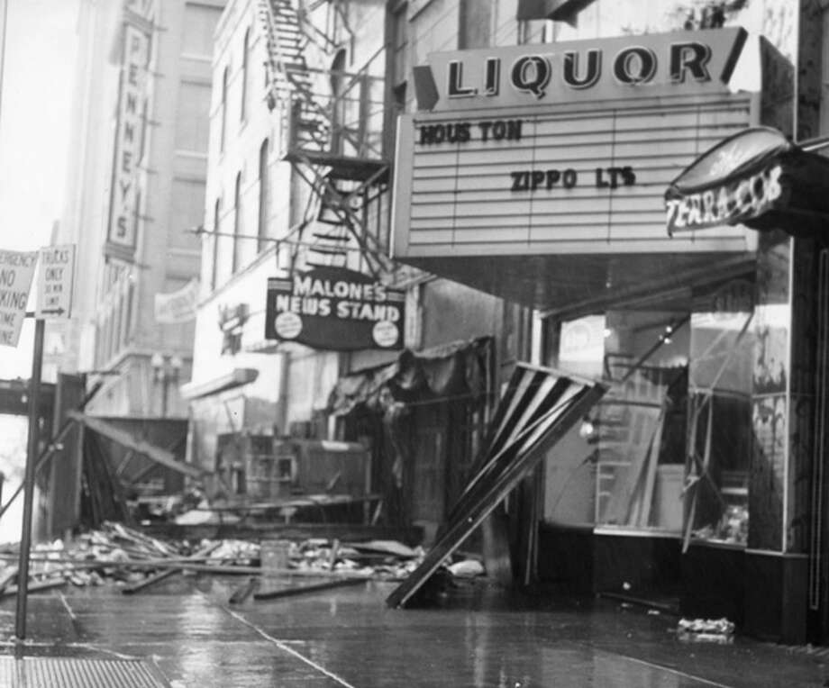 Hurricane Carla devastated downtown Houston in September 1961. What if Hurricane Carla were to hit today? That's a variation on a question some risk management geeks in Boston asked and they came up with the number.  Photo: .