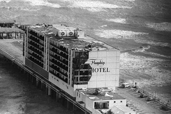 FILE-- The Flagship Hotel on Galveston Island, Texas, shows damage caused by Hurricane Alicia in this Aug. 19, 1983, file photo.