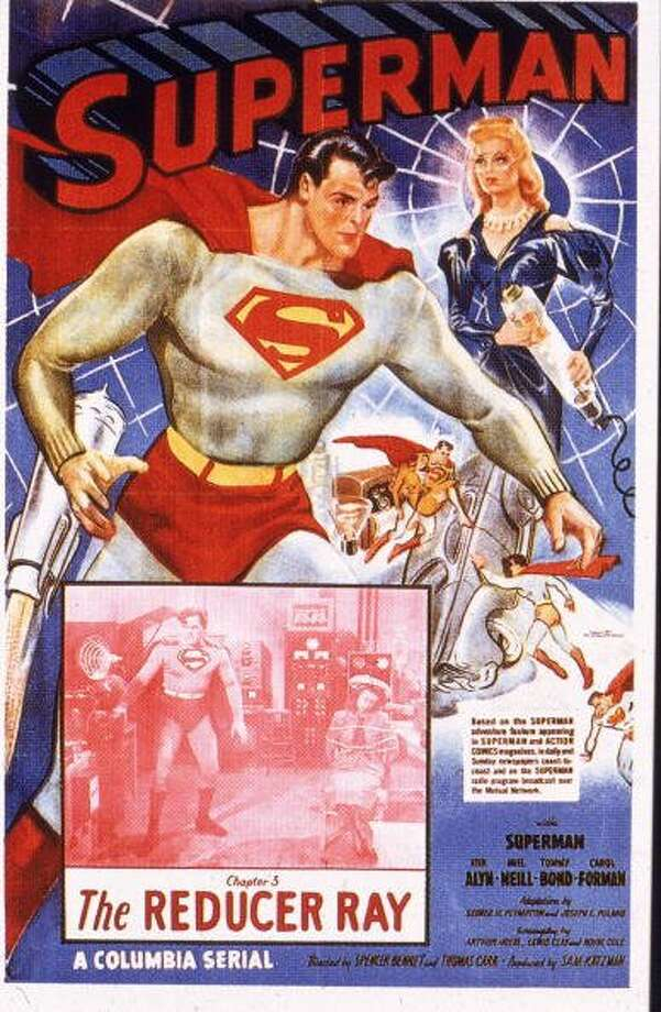"74-years of Superman- The man of steel who has managed to save a city and fall in love made his first appearance in ""Action Comics #1,"" on April 18, 1938. Pictured is a film poster for 'Superman' starring actor Kirk Alyn as Superman battling a 'Reducer Ray,' in 1948.  (Columbia Pictures / Getty Images)"