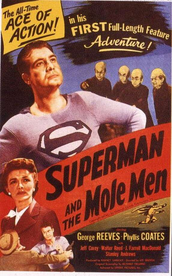"74-years of Superman- The man of steel who has managed to save a city and fall in love made his first appearance in ""Action Comics #1,"" on April 18, 1938. Pictured in this file photo is a movie poster for the film 'Superman and the Mole Men' which starred American actors George Reeves (1914 - 1959) and Phyllis Coates, the film was directed by Leem Sholem, 1951. (Lippert Pictures / Getty Images)"