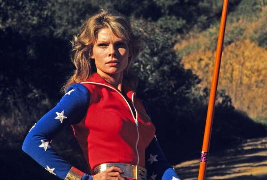 "71-years of Wonder Woman- The powerful female comic made her first appearance in ""All Star Comics #8,"" December, 1941. In this file photo actress Cathy Lee Crosby, starred in the title role of super hero in the ABC television series ""Wonder Woman"", March 12, 1974. (ABC via Getty Images)"