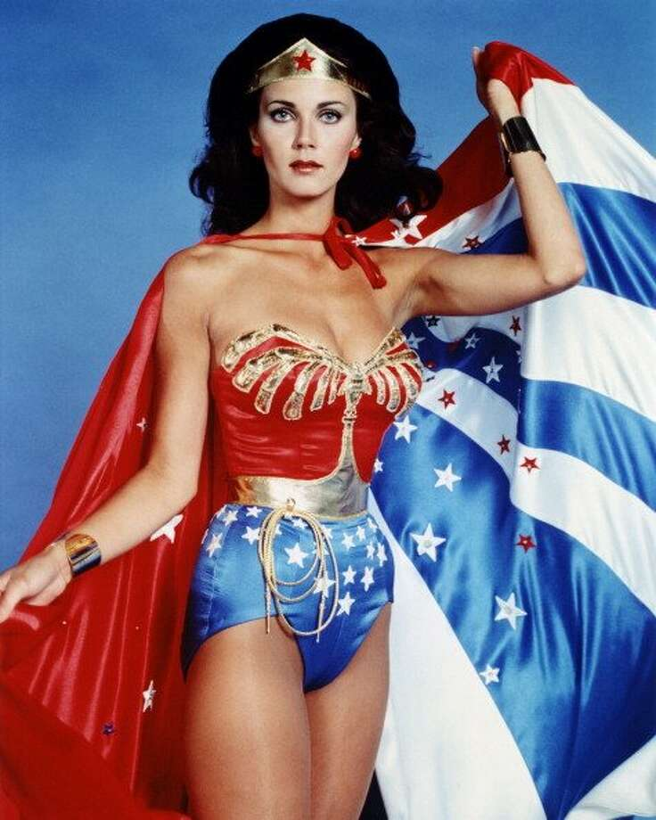 """The powerful female comic made her first appearance in """"All Star Comics #8,"""" December, 1941. In this photo actress Lynda Carter, is in costume during a studio portrait issued as publicity for the US television series, 'Wonder Woman', circa 1977."""