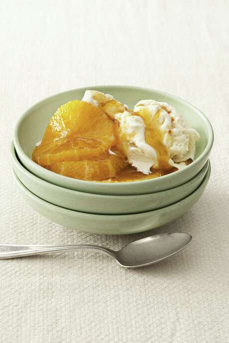 Delish: Country Living recipe for Honey-Poached Oranges. Photo: Kate Sears