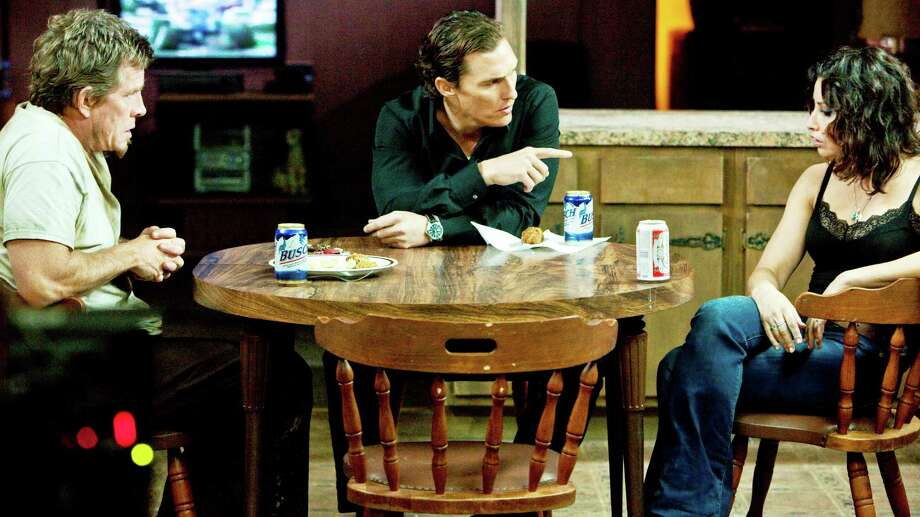 "Thomas haden Church (left), Matthew McConaughey and Gina Gershon in ""Killer Joe."" Photo: Courtesy Photo"