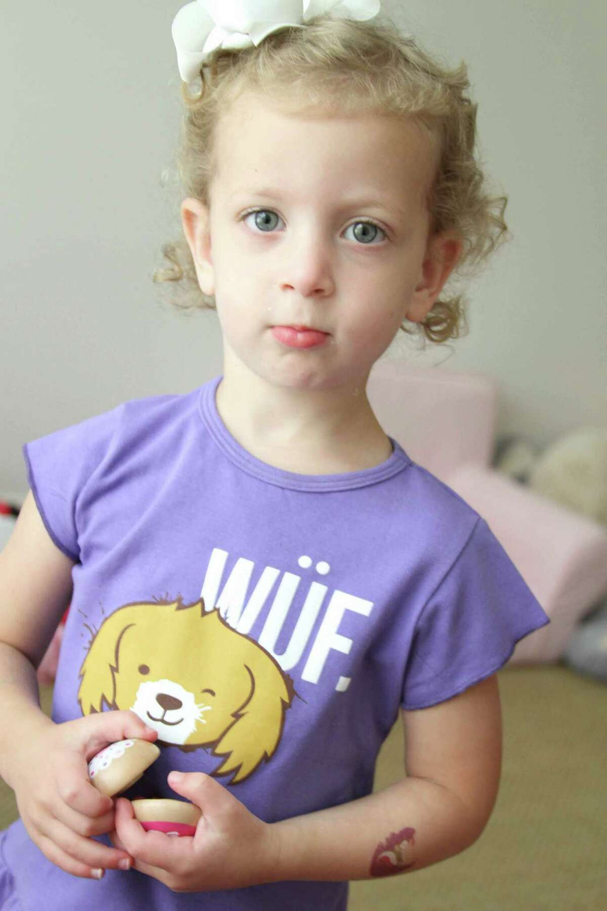 Madison Rose, 3, wears a Cuteheads top.