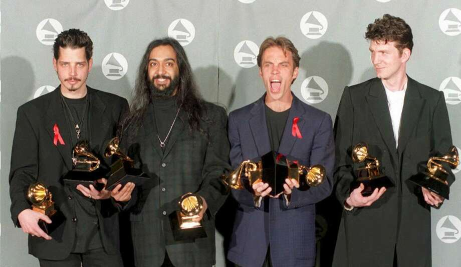 Soundgarden pose with their two Grammy awards for Best Metal Performance and Best Hard Rock Performance at the 37th Annual Grammy Awards in Los Angeles back in 2001.