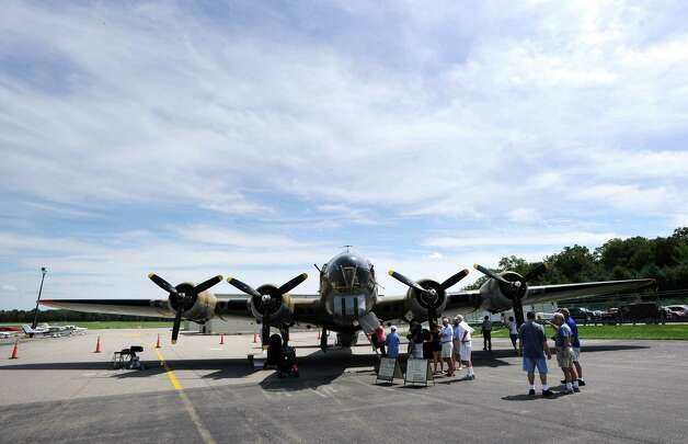A B-17 Flying Fortress bomber at the annual World War II plane traveling exhibition, Wings of Freedom tour, at Westchester County Airport in White Plains, N.Y., Tuesday, Aug. 21, 2012. The aircraft will be on display and available for paid flights from 9 a.m. to noon Aug. 22, before leaving the airport. Photo: Bob Luckey / Greenwich Time
