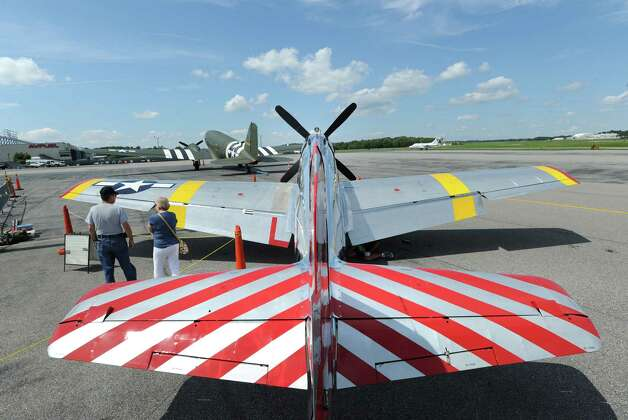 A P-51 Mustang fighter during the annual World War II plane traveling exhibition, Wings of Freedom tour, at Westchester County Airport in White Plains, N.Y., Tuesday, Aug. 21, 2012. The aircraft will be on display and available for paid flights from 9 a.m. to noon Aug. 22, before leaving the airport. Photo: Bob Luckey / Greenwich Time