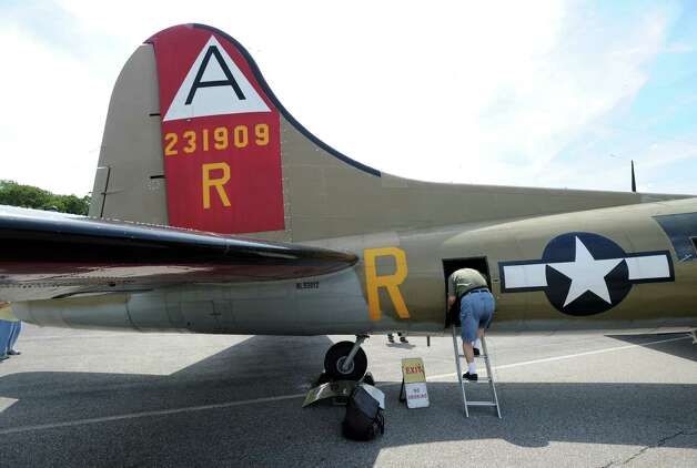 A B-17 Flying Fortress during the annual World War II plane traveling exhibition, Wings of Freedom tour, at Westchester County Airport in White Plains, N.Y., Tuesday, Aug. 21, 2012. The aircraft will be on display and available for paid flights from 9 a.m. to noon Aug. 22, before leaving the airport. Photo: Bob Luckey / Greenwich Time