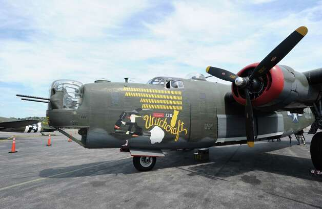 A B-24 Liberator during the annual World War II plane traveling exhibition, Wings of Freedom tour, at Westchester County Airport in White Plains, N.Y., Tuesday, Aug. 21, 2012. Photo: Bob Luckey / Greenwich Time