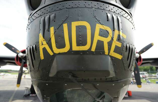 """Audre"" painted on the nose of a B-24 Liberator at the annual World War II plane traveling exhibition, Wings of Freedom tour, at Westchester County Airport in White Plains, N.Y., Tuesday, Aug. 21, 2012. Photo: Bob Luckey / Greenwich Time"