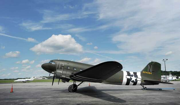 A C-47 transport plane on the tarmac at Westchester County Airport in White Plains, N.Y., Tuesday, Aug. 21, 2012. Photo: Bob Luckey / Greenwich Time