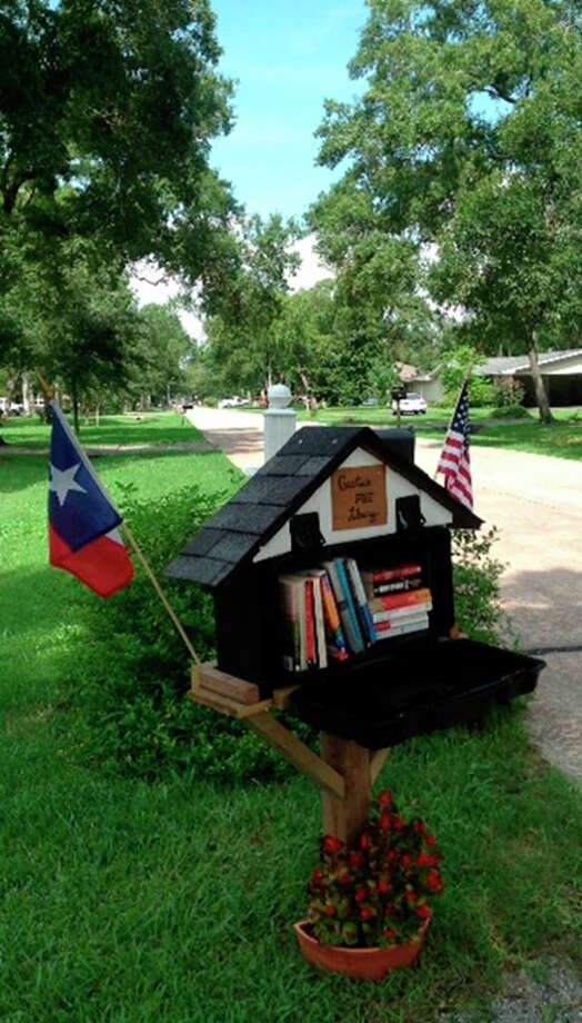 Lynne Foley of Baytown dedicated her Little Free Library to her mother-in-law. Photo: Lynne Foley