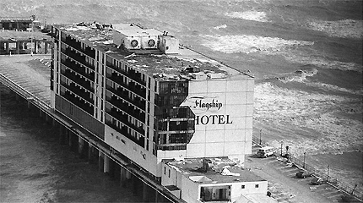 The Flagship Hotel shows damage caused by Hurricane Alicia in this Aug. 19, 1983, file photo. Later in 2008 Hurricane Ike would finally put an end to the Flagship.