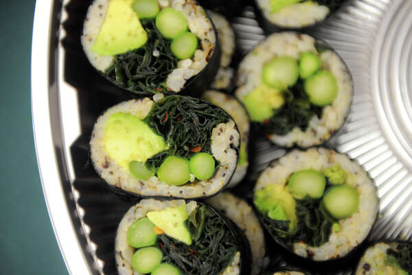 Seaweed salad sushi rolls prepared by Miya's Sushi Chef Bun Lai served at the University of Connecticut in Stamford, Conn., August 21, 2012. Professor Charles Yarish has been at the helm of the school's research examining the economic viability of growing seaweed in Long Island Sound to produce various products including vegetables, biofuels and fertilizer.