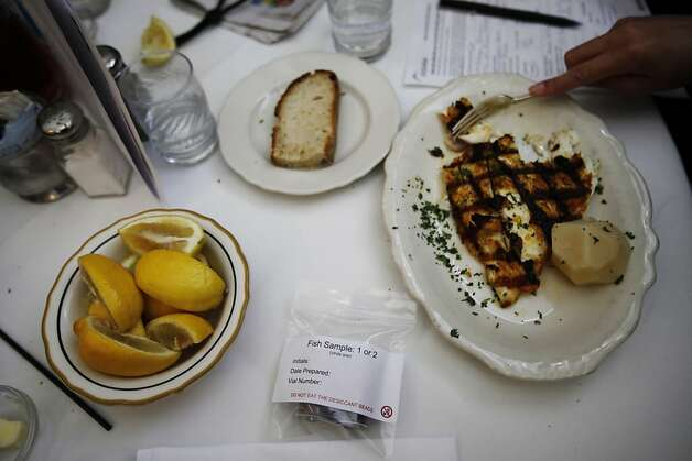 Samples of fish dishes are taken from the plates and sent to labs that can determine whether they are labeled properly. Photo: Sonja Och, The Chronicle