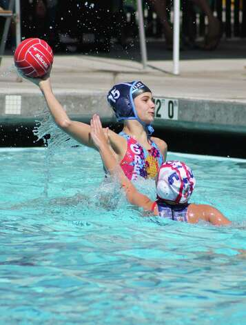 Borden Wahl takes a shot for the YMCA Greenwich Aquatics 12U Girls Water Polo team during action at the National Junior Olympics, which were held recently in Palo Alto, Calif. Photo: Contributed Photo