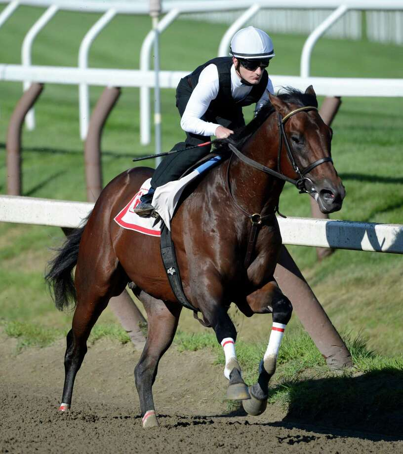 Neck n' Neck gets his final prep for the Travers Stakes with jockey Julien Leparoux this morning on the main track at the Saratoga Race Course in Saratoga Springs, N.Y. Aug 20, 2012.   (Skip Dickstein/Times Union) Photo: Skip Dickstein