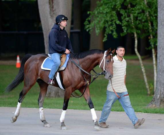 Jim Dandy winner Alpha with exercise rider Rob Massey, returns to the barn after his morning exercise on the main track at the Saratoga Race Course in Saratoga Springs, N.Y. Aug 21, 2012.   (Skip Dickstein/Times Union) Photo: Skip Dickstein