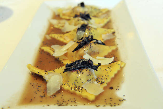 The Casunziei di Cortina, beet ravioli with butter sage sauce, piave cheese and poppy seeds at Cesco's Trattoria in Darien, Conn., August 2, 2012. Photo: Keelin Daly / Stamford Advocate