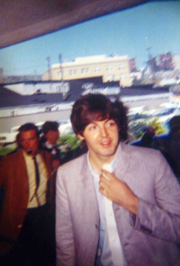 Paul McCartney arrives at the Edgewater Hotel. The photo is kept in a scrapbook made by Ann Wright, wife of former Edgewater Hotel manager Don Wright. (Photo courtesy Ann Wright)