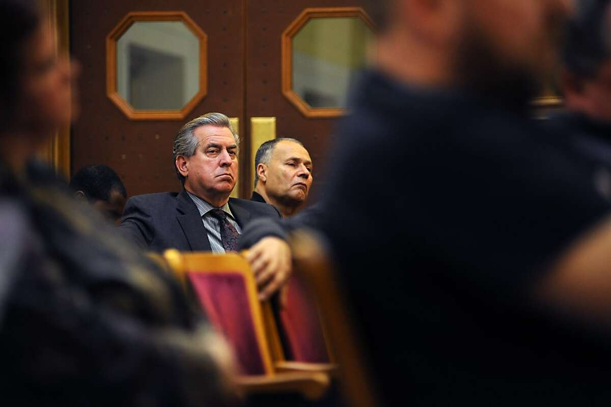 Yellow Cab general manager Jim Gillespie listens to the proceedings. The Municipal Transportation Agency voted on changes to the SF Taxi Driver Medallion system at City Hall in San Francisco, CA Tuesday August 21st, 2012.