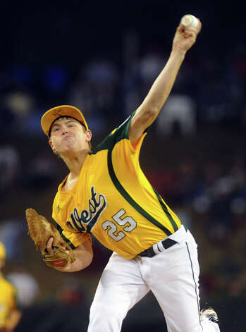West's Quinton Gago pitches against New England, during 2012 Little League World Series game action in South Williamsport, Penn. on Tuesday August 21, 2012. West beat New England 5-0. Photo: Christian Abraham / Connecticut Post