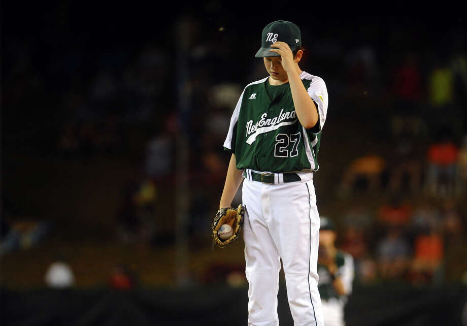 New England's Matt Kubel works to regroup on the mound, during 2012 Little League World Series game action against West in South Williamsport, Penn. on Tuesday August 21, 2012. West beat New England 5-0. Photo: Christian Abraham / Connecticut Post