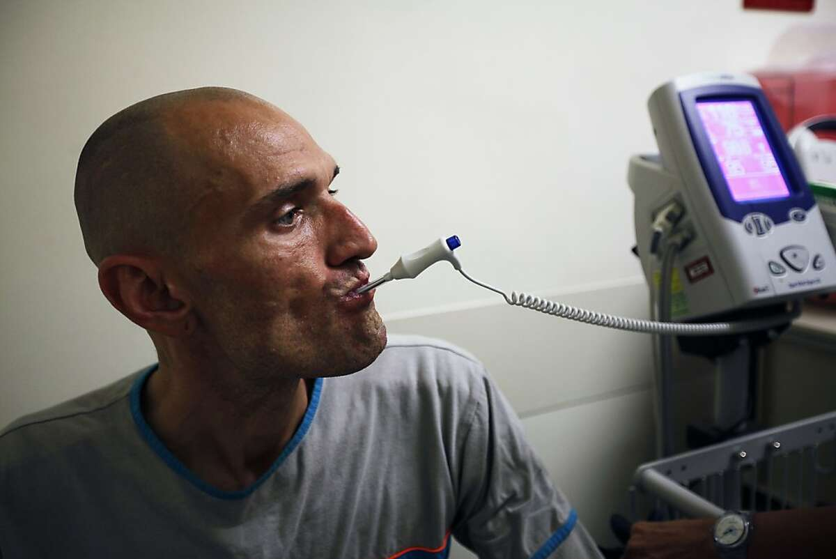 """Joey """"August"""" Massey, HIV-positive patient, during his checkup at SF General in San Francisco, Calif. on Tuesday, Aug 21, 2012."""