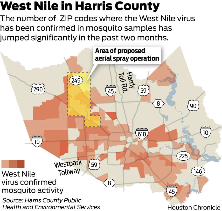The number of  ZIP codes where the West Nile virus has been confirmed in mosquito samples has jumped significantly in the past two months.