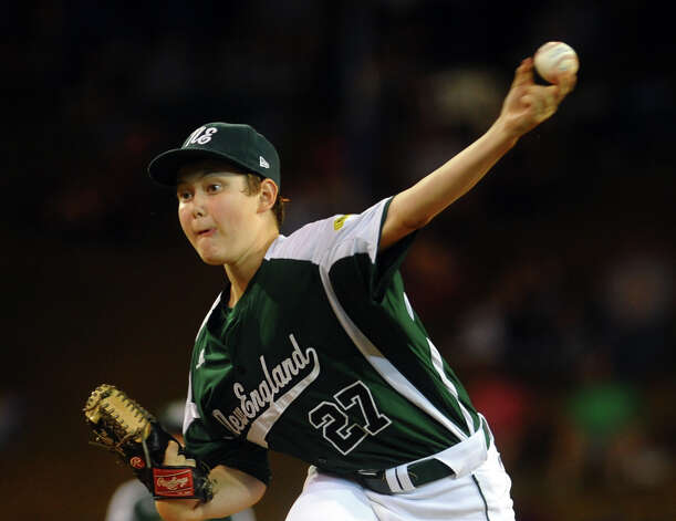 New England's Matt Kubel pitches against West, during 2012 Little League World Series game action in South Williamsport, Penn. on Tuesday August 21, 2012. West beat New England 5-0. Photo: Christian Abraham / Connecticut Post