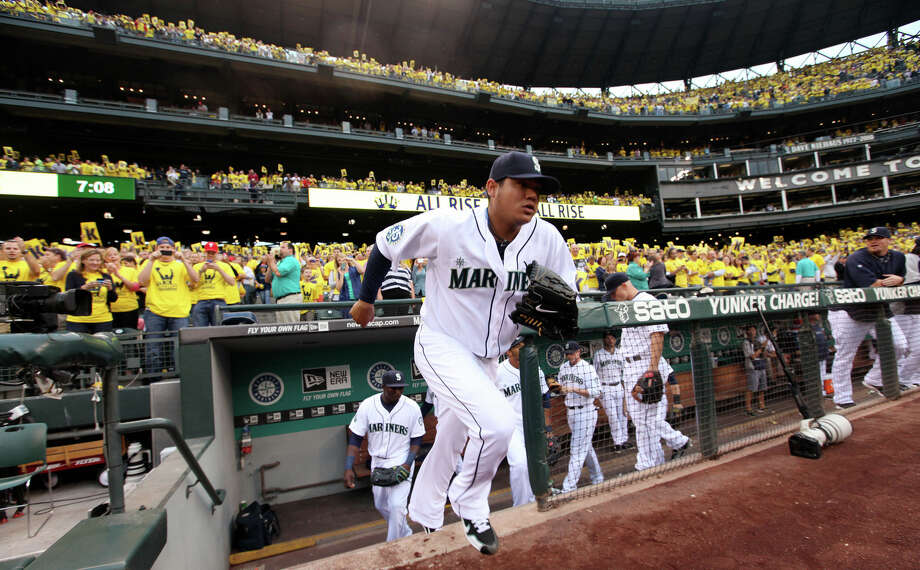 Seattle Mariners starting pitcher Felix Hernandez takes the field against the Cleveland Indians in the first inning of a baseball game, Tuesday, Aug. 21, 2012, in Seattle. Hernandez was making his first start since throwing a perfect game against the Tampa Bay Rays on Aug. 15. Photo: Elaine Thompson / Associated Press