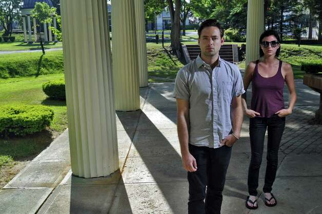 Joshua Carter and Sarah Barthel form the band Phantogram, which has a growing national following, and are from the Saratoga area. They posed for a portrait in Congress Park in Saratoga Springs, NY on Tuesday  May 25, 2010. ( Philip Kamrass / Times Union) Photo: PHILIP KAMRASS / 00008895A