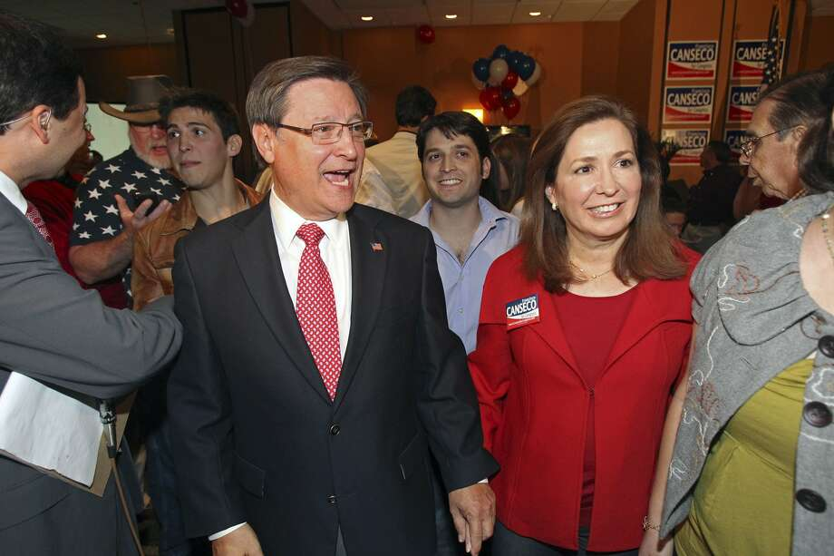 Francisco Canseco and his wife  Gloria Canseco celebrate his victory  in the District 23 Congressional District race over Ciro  Rodriguez at the Crowne Plaza San Antonio Airport  on  Nov. 2,  2010.   (TOM REEL / SAN ANTONIO EXPRESS-NEWS)