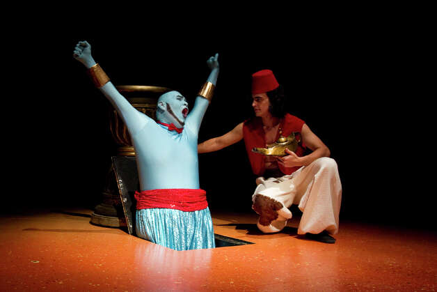 "Richard Solis (from left) and Alex Berkowitz play the Genie  and the title role in Magik Theatre's ""Aladdin."" Photo: Courtesy David Frank"